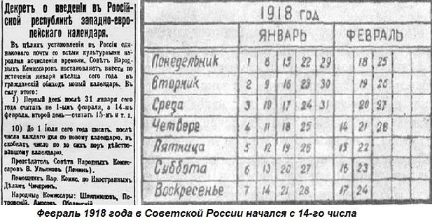 календарь 1918 год год
