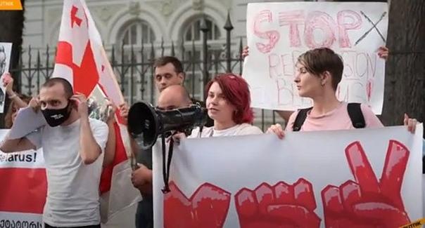 ВТбилиси иБатуми провели акции вподдержку протестующих вБелоруссии